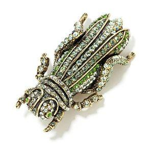 Vintage Heidi Daus Crystal Pave Grasshopper Brooch